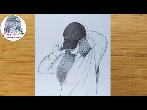 Hidden face drawing   How to draw a girl with cap  Pencil sketch  bir kбz nasбl izilir