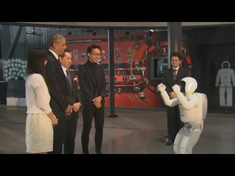 Japan - US President Barack Obama has played soccer with a robot during a visit to a museum in Tokyo on a visit to Japan. Report by Jeremy Barnes.