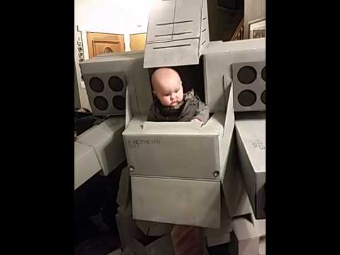 Dad Builds Cool Mech Warrior Baby Carrier For