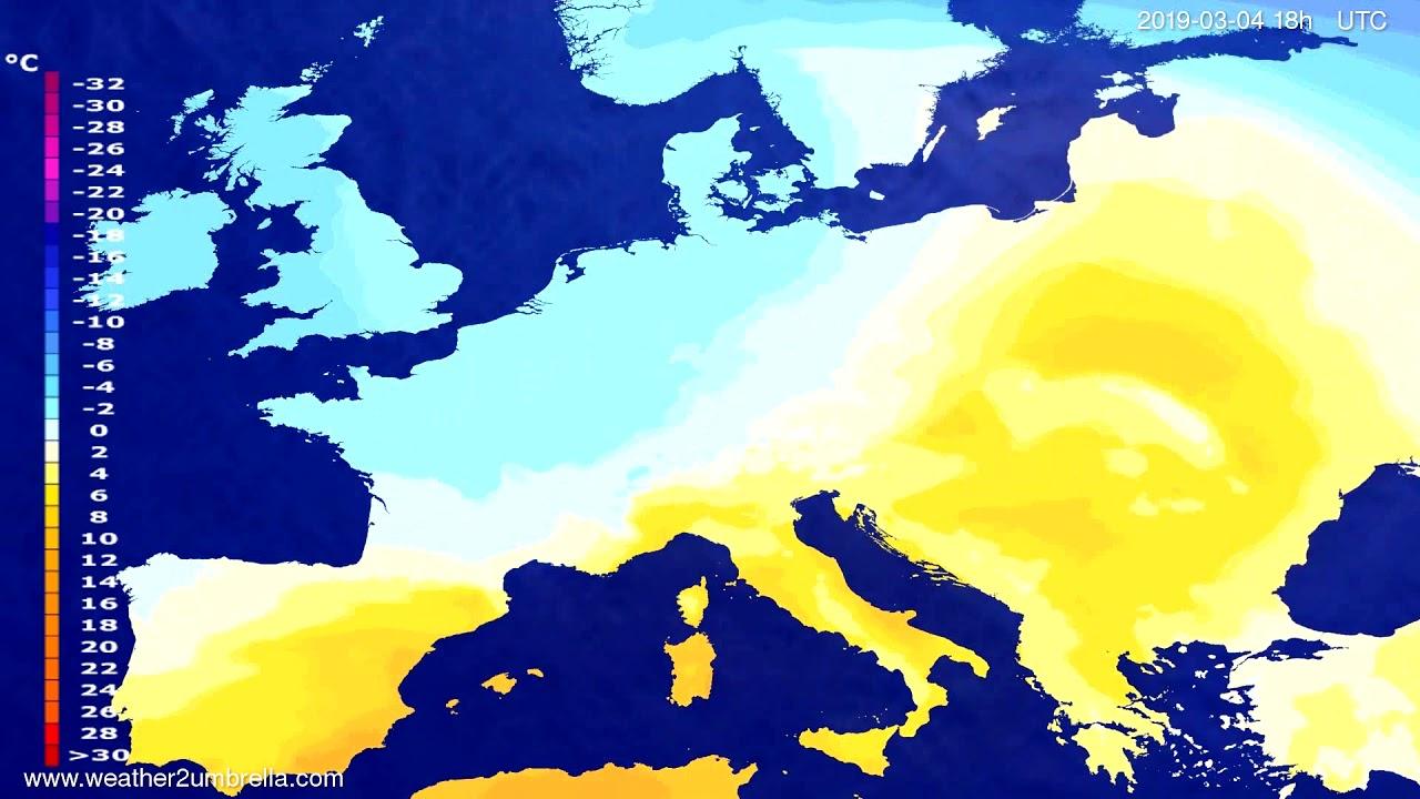 #Weather_Forecast// Temperature forecast Europe 2019-03-03