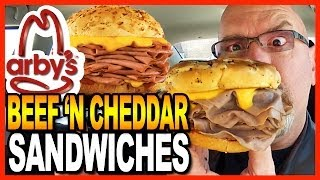 Arby's ★ Large Beef 'N Cheddar & Onion Rings Meal Review & Drive Thru Test