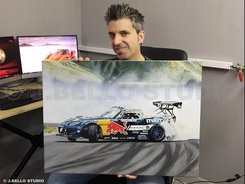 "Time-Lapse Video ""Mad Mike Drift Car"" Acrylic Painting"
