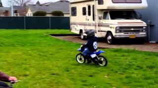 9. Mason's first ride on his Yamaha PW50!