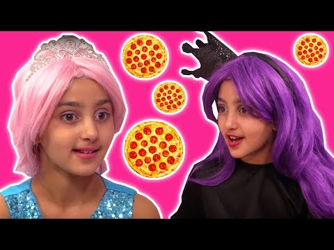 TRY NOT TO EAT CHALLENGE 🍏 Princess Olivia Vs. Malice - Princesses In Real Life | Kiddyzuzaa
