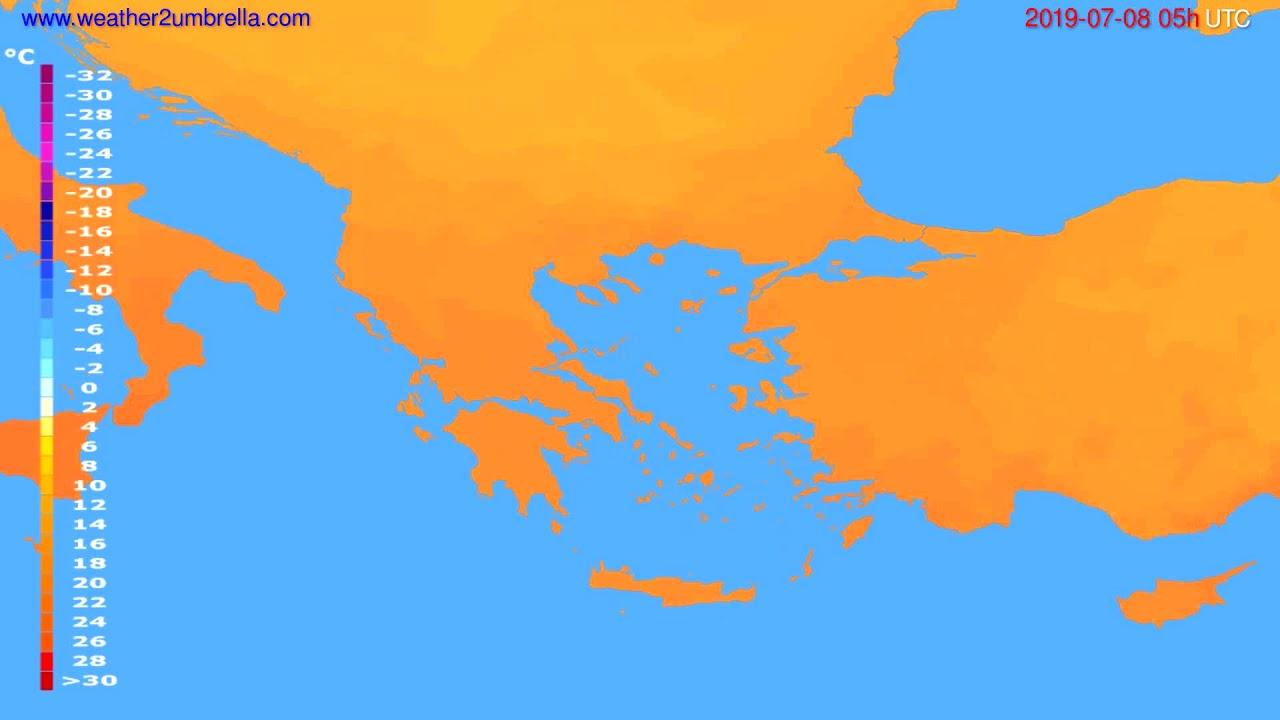 Temperature forecast Greece // modelrun: 00h UTC 2019-07-06