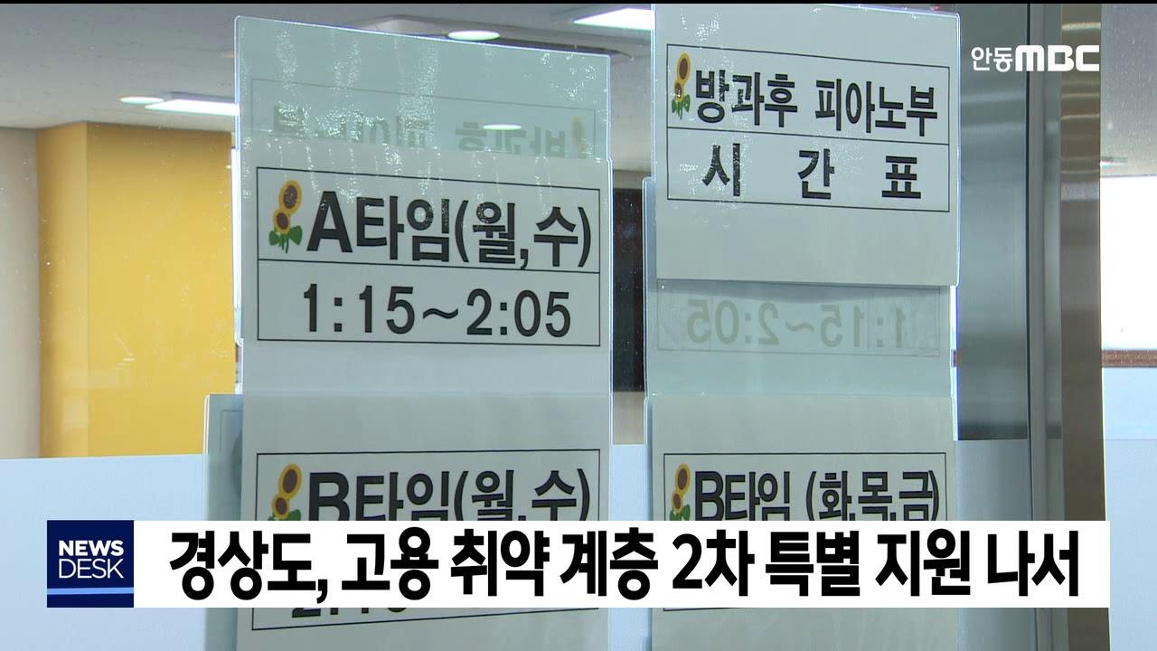 경북도, 고용 취약 계층 2차 특별 지원