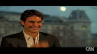 Roger Federer laughing to death at tv interview