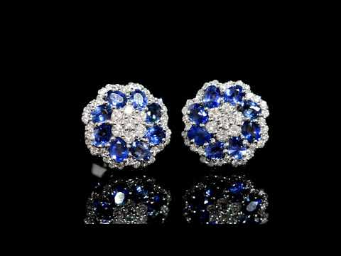 Lady's 14k White Gold 3.27ct (TW) Blue Sapphire and Diamond Floral Design Earrings