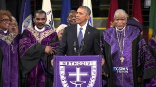 President Obama Sings Amazing Grace At Pinckney Funeral