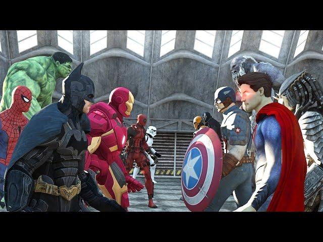 batman vs superman vs captain america vs ironman vs hulk vs deadpool vs spiderman vs goku batman iron man fanboy