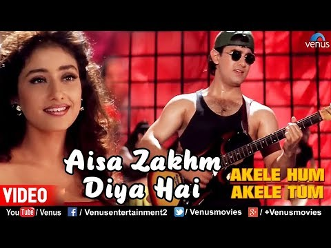 Video Aisa Zakhm Diya Hai | Aamir khan & Manisha| Akele Hum Akele Tum| 90's Best Love Song download in MP3, 3GP, MP4, WEBM, AVI, FLV January 2017