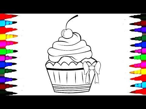 Learn Coloring SQUISHY CUPCAKE - Coloring Book Pages Kids F.un Art Activities - Learning Colors