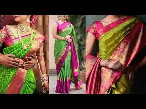 Video Green Kanchipuram Designer Silk Sarees and Blouse Color combinations|Million Designs download in MP3, 3GP, MP4, WEBM, AVI, FLV January 2017