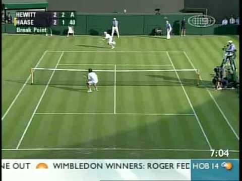 Lleyton Hewitt y Robin Haase en Wimbledon 2008
