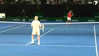Rod Laver warmed up with Roger Federer before Federer's charity match against Jo-Wilfred Tsonga. Donate to the Roger Federer...