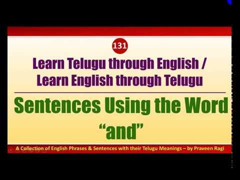 "131 - Spoken Telugu (advanced Level) Learning Videos - Sentences Using The Word ""and"""