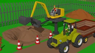 Video #Excavator and Cyclop Loader and Tractor with Trailer | Street and agricultural vehicles | Maszyny MP3, 3GP, MP4, WEBM, AVI, FLV Desember 2018