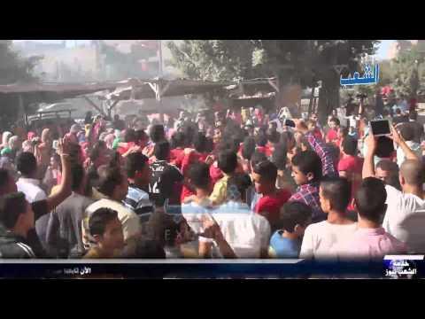 """أولتراس ناهيا يحتفل أمام منزل المعتقل """"محمد وحيد"""" بعد لإفراج عنه"""