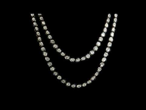 925 Silver with Gold Plated Polki Diamond Necklace