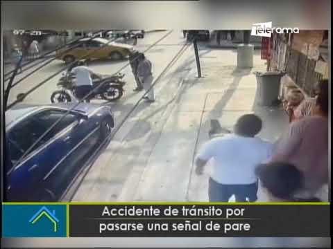 Accidente de tránsito por pasarse una señal de pare