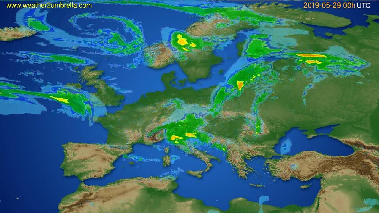 Radar forecast Europe // modelrun: 12h UTC 2019-05-28