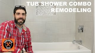 How should you approach tub shower combo remodeling? We have several quick tips. https://www.homerepairtutor.com/tub-shower-combo-remodeling-quick-tipsTip #1: Demo the existing fiberglass, steel or cast iron tub. Cut fiberglass tubs into three sections, remove the tub plumbing then the tub itself. Cast iron tubs need to be smashed into smaller pieces using a sledge hammer.Tip #2: Sublfoor Repair for subfloors that aren't level or severely damaged. Sagging floors might have damaged joists that need to be fixed or sistered to other 2x8s or 2x10s. If the subfloor isn't too bad you can use a self-leveler to fix it.Tip #3: Set the Tub and Tub Plumbing. Acrylic tubs can be attached to studs using galvanized screws, just pre-drill the acrylic tub lip first. Steel and cast iron tubs can be attached to stud walls using galvanized screws and washers. Mount the mixing valve inside the stud wall such that the tub spout will be 3-4 inches from the tub deck, the valve will be 9-18 inches from the tub deck and the shower arm will be 80 inches off the subfloor. Sometimes local plumbing codes allow a mix of copper and PEX pipes, we like this for mixing valves as it helps eliminate soldering in the stud wall.Tip #4: Framing the Niche and Adding Waterproofing. Frame a shower niche after you know the tile dimensions, grout joint size and general layout of the tile. Use some type of waterproofing for the shower walls like KERDI-BOARD, Wedi, GoBOARD or cement board with RedGard, Ardex 8+9 or Hydroban.Tip #5: Tile the Main Shower Wall. Set the first row of tiles on top of plastic spacers. Back butter tiles, use directional troweling for the substrate and tile, use the right trowel size and move tiles back and forth on the wall to compress trowel ridges. Tip #6: Tile the Plumbing Wall. Use carbide holes saws for tub spout holes in tiles and angle grinders with carbide blades for mixing valve holes. Use Schluter profiles instead of bullnose tiles to save money.Tip #7: Use Premium Grout. Ard