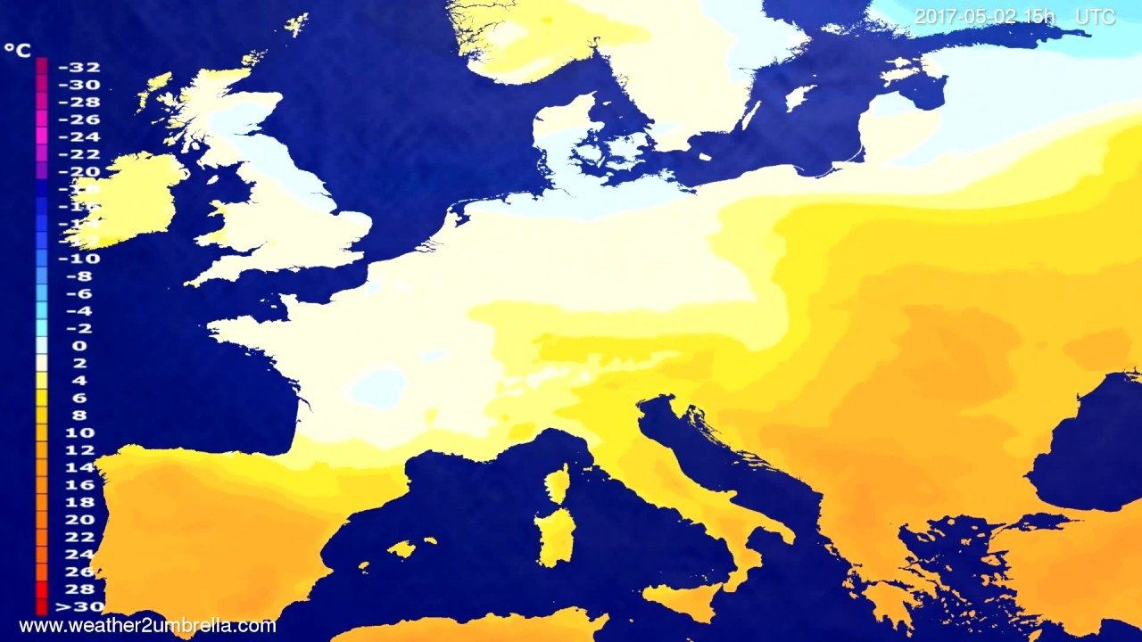 Temperature forecast Europe 2017-04-29