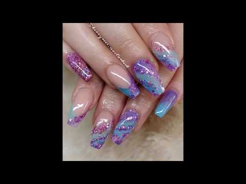 Acrylic Nails, Acrylic colour gliding with glitter