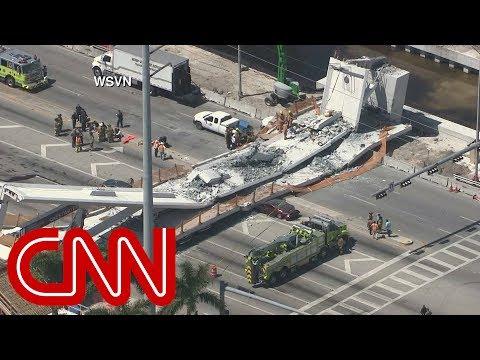 תיעוד ממיאמי: המכוניות עוברות – והגשר קורס