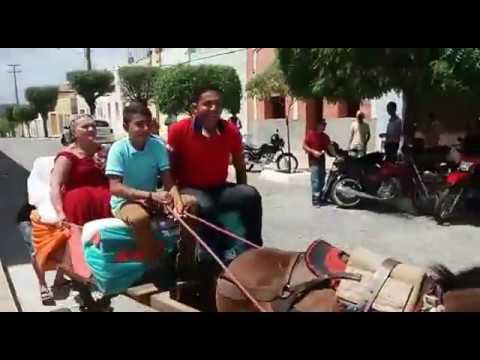 Noiva improvisa carroça de burro como charrete para ir à igreja se casar, em Ibiara