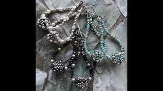 Join me on Facebook:http://www.Facebook.com/BronzeponyBeadedJewelryMaterials:For the beaded bead:2 - 8mm Firepolished Beads - Jet16 - 3mm Beads - Faceted Hematite11/0 Seed beads - Matte Metallic Silver - MiyukiSize 11 Beading NeedleWildfire beading thread or 8lb FirelineFor the Earrings:SoftFlex beading Wire - Fine8/0 Seed Beads- Black11/0 Seed Beads - Black4mm Swarovski Pearls - Platinum12 - 3mm Hematite Beads2 - 5mm Wire Protectors2 - Crimp Beads2 - Ear Wiresflush cutterflat nosed pliers
