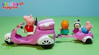 Свинка Пеппа (Peppa Pig)  и мотороллер с прицепом. Обзор игрушки