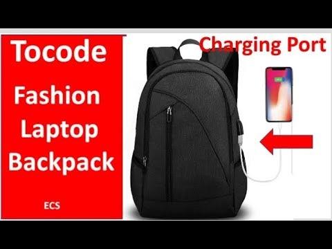 Tocode Laptop Backpack with USB Charging Port & Headphone Jack, Waterproof