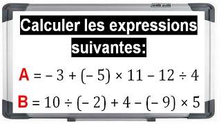 Maths 4ème - Les nombres relatifs en écriture décimale Exercice 6