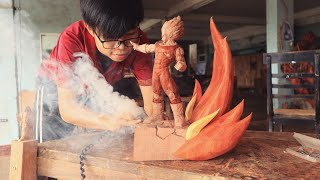 How to Carve Majin Vegeta from Special Wood - sculpture timelapse