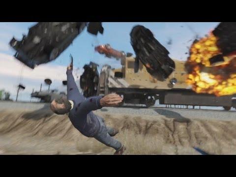 太屌了~~「俠盜獵車手5」到底要多少輪車才能擋住火車?