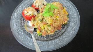 Baked Tomato, Bread Pizza&Sausage Rice 3 in 1 Recipe Challenge...:)