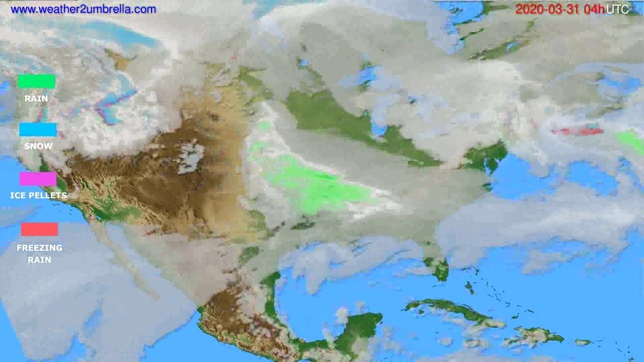 Precipitation forecast USA & Canada // modelrun: 12h UTC 2020-03-30
