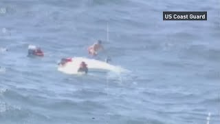 Coast Guard rescues five from capsized boat off the shore of Topsail Island, North Carolina. Report by Jessica Wakefield.