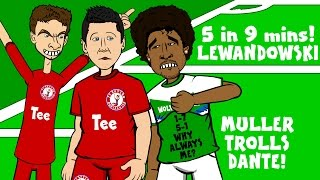 Video LEWANDOWSKI scores 5 goals in 9 minutes! (FC Bayern 5-1 Wolfsburg - Muller trolls Dante prank) MP3, 3GP, MP4, WEBM, AVI, FLV September 2018