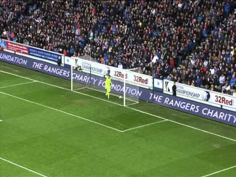 tribute - Teddy Sheringham opens the scoring at Ibrox with a brilliant chip.