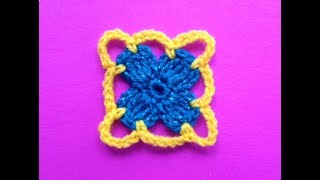 How To Crochet A Square Flower Motif Pattern #10│ By ThePatterfamily