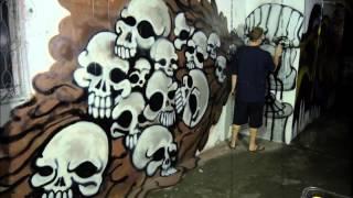 Puking Spray Cans Graffiti Street Art Mural Bangkok Thailand