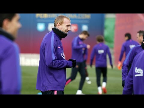 FC Barcelona training session: Mathieu misses semifinal game