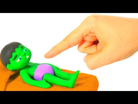 BABY HULK NEEDS HELP TO WAKE UP ❤ Spiderman, Hulk & Frozen Elsa Play Doh Cartoons For Kids