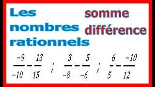 Maths 4ème - Les nombres rationnels Somme et Différence Exercice 18
