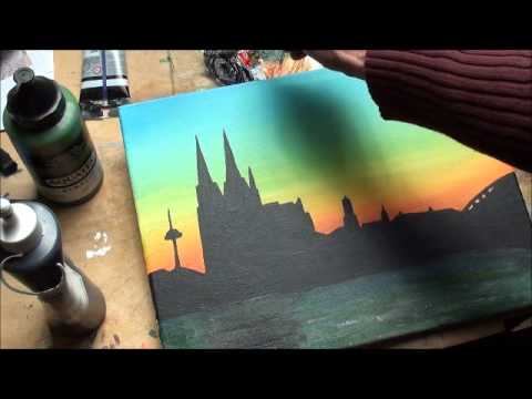 Malen mit Acryl: Skyline Altstadt Köln (Teil 2/3)