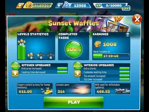 Cooking Fever-Sunset Waffles Level 1-40(3 Stars)