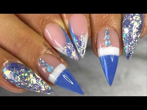 ACRYLIC NAILS  BABY BLUE PRETTY DESIGN