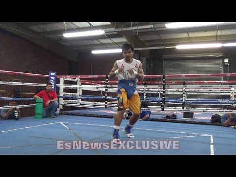 MANNY PACQUIAO SHOWS OFF FAST FOOTWORK & SHARP ANGLES!!! PRIMED 4 DAYS OUT OF BRADLEY TRILOGY!!!